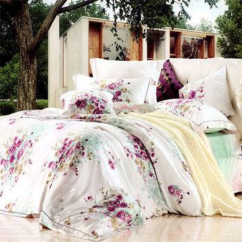 【KOSNEY】薔薇愛戀  加大100%天絲TENCEL四件式兩用被床包組
