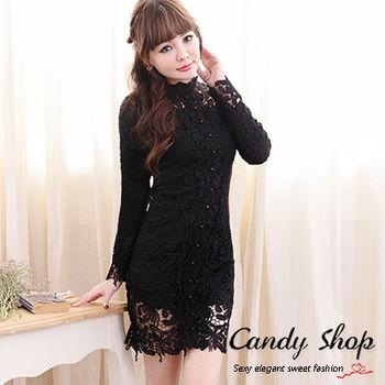 Candy小舖 春季碎花蕾絲雪紡長版洋裝-黑色
