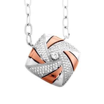 【Jewelrywood】純銀微鑲晶鑽風車雙色項鍊(玫瑰金)