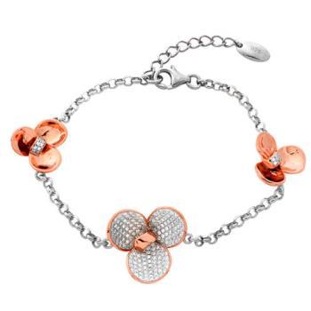 【Jewelrywood】純銀微鑲晶鑽立體花朵雙色手鍊(玫瑰金)