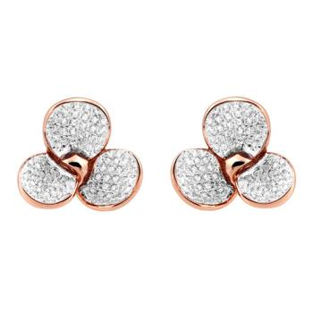 【Jewelrywood】純銀微鑲晶鑽立體花朵雙色耳環(玫瑰金)