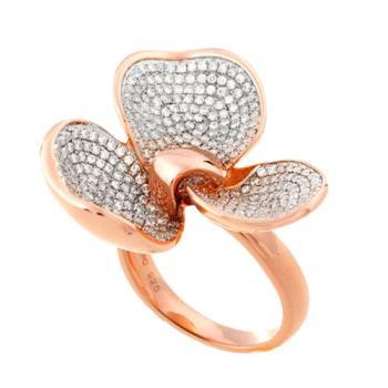 【Jewelrywood】純銀微鑲晶鑽立體花朵雙色戒指(玫瑰金)