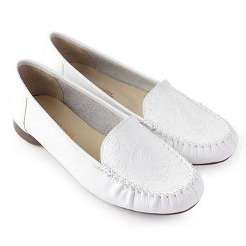 【GREEN PHOENIX】柔和內斂雕刻壓花紋全真皮平底休閒鞋-白色