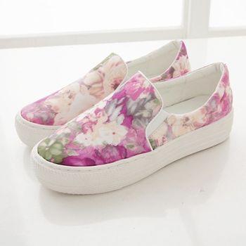 《DOOK》手繪風水彩渲染花紋舒適厚底懶人鞋-嫩桃粉