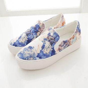 《DOOK》手繪風水彩渲染花紋舒適厚底懶人鞋-藍色
