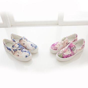 《DOOK》手繪風水彩渲染花紋舒適厚底懶人鞋-2色