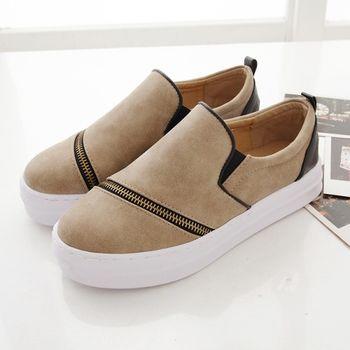 《DOOK》拉鍊拼接設計雲紋皮面舒適厚底懶人鞋-米色(淺棕)