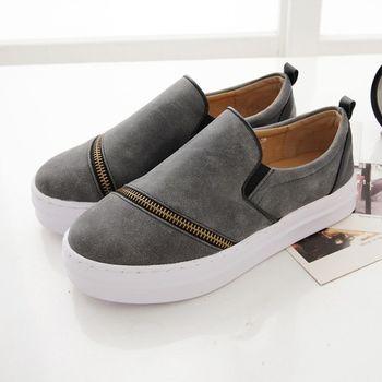 《DOOK》拉鍊拼接設計雲紋皮面舒適厚底懶人鞋-霧灰色