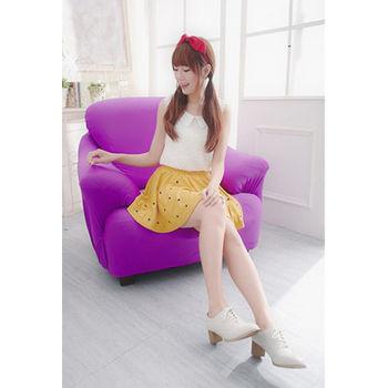 【Osun】一體成型防蹣彈性沙發套、沙發罩素色款1人座(薰衣紫)