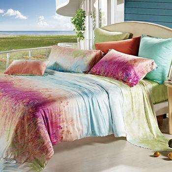 【KOSNEY】彩虹之美 加大100%天絲TENCEL四件式兩用被床包組