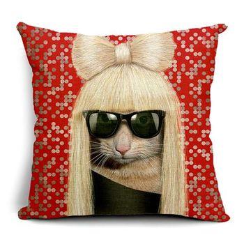 【ZARATA】歐美創意動物明星午安抱枕靠枕套(女神卡卡)