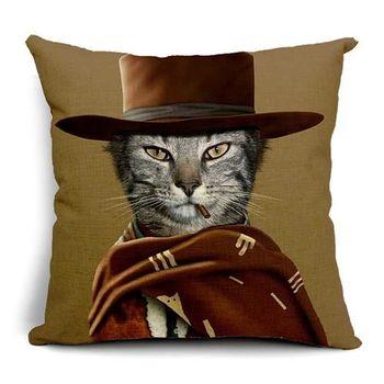【ZARATA】歐美創意動物明星午安抱枕靠枕套(咖圍巾灰貓)
