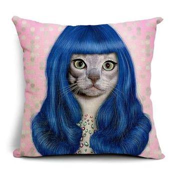 【ZARATA】歐美創意動物明星午安抱枕靠枕套(藍髮電眼貓)