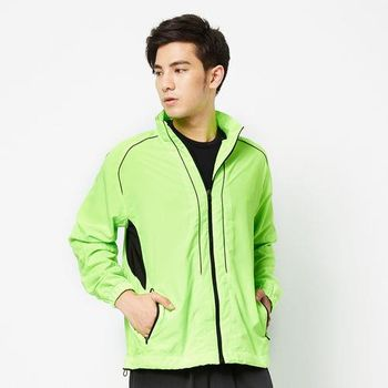 FIVE UP-撞色立領抗UV風衣外套-螢綠