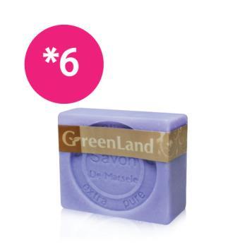 GreenLand 72%初榨橄欖薰衣草馬賽皂6入(靚白組)