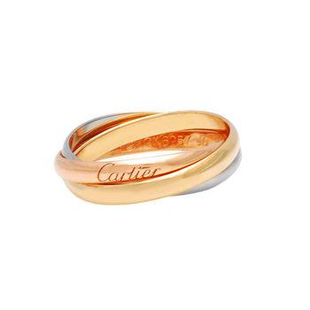 Cartier卡地亞TRINITY DE CARTIER 三色金環造型18K婚戒 (#49)