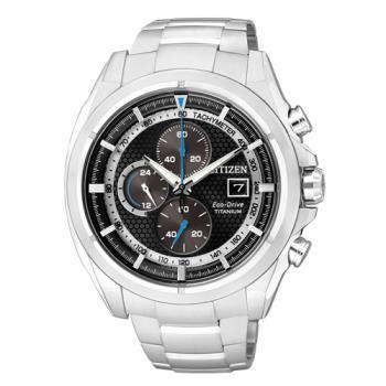 【CITIZEN】一級方程式 鈦金屬光能三眼計時腕錶-黑x銀(CA0551-50E)