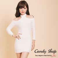 Candy小舖 甜美大圓領兩穿掛脖貼身長袖短洋裝 ^#45 白色
