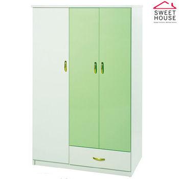 【甜美家】塑鋼防水防潮防霉可掛折三門衣櫃(白綠色 台灣製)