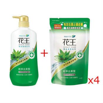 花王 植萃弱酸洗髮精-純淨去屑型-蘆薈 750ml+補充包550ml(4入)