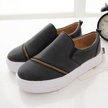《DOOK》拉鍊拼接設計雲紋皮面舒適厚底懶人鞋-黑色