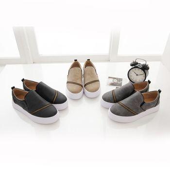 《DOOK》拉鍊拼接設計雲紋皮面舒適厚底懶人鞋-3色
