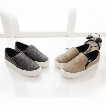 《DOOK》蛇皮壓紋舒適厚底懶人鞋-2色