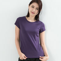 CoolMax 吸濕排汗衣涼感舒適機能吸排素色T恤 仕女款 紫色