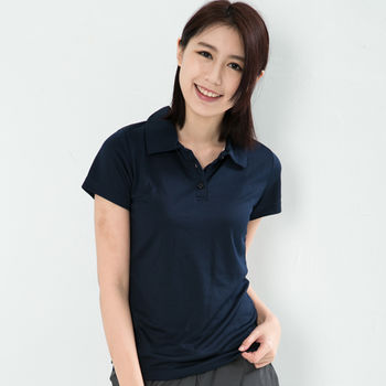 CoolMax 吸濕排汗衣涼感舒適機能吸排素色POLO衫 仕女款 丈青