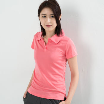 CoolMax 吸濕排汗衣涼感舒適機能吸排素色POLO衫 仕女款 粉色