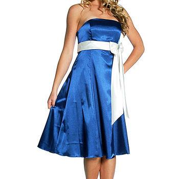 【摩達客】美國進口Landmark無肩帶平口藍色緞面優雅過膝裙派對小禮服/洋裝(含禮盒)