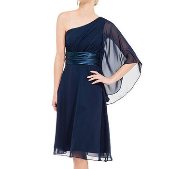 【摩達客】美國進口Landmark斜肩浪漫優雅風深藍派對小禮服/洋裝(含禮盒/附絲巾)