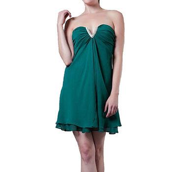 【摩達客】美國進口Landmark無肩帶V口名媛風藍綠色派對小禮服/洋裝(含禮盒/附絲巾)