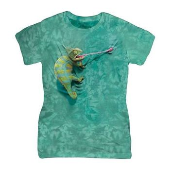 【摩達客】(預購)美國進口The Mountain 攀岩變色龍 短袖女版T恤精梳棉環保染
