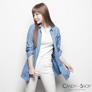Candy小舖 排釦袖反摺長版牛仔外套