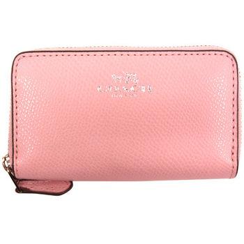 【COACH】新款粉色荔枝紋皮質雙層拉鏈手拿包