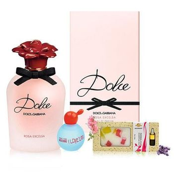 DOLCE  GABBANA DOLCE ROSA EXCELSA 薔薇蜜戀女性淡香精 75ml+小香+手工皂精油禮盒