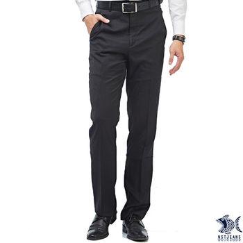 【NST Jeans】 391(6922) 俐落颯爽主義 永恆黑斜口袋西裝褲(中腰)平面/無打摺/年輕款式/筆挺/彈性