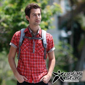 PolarStar 吸濕排汗抗UV短袖襯衫 男『磚粉紅』 P16139