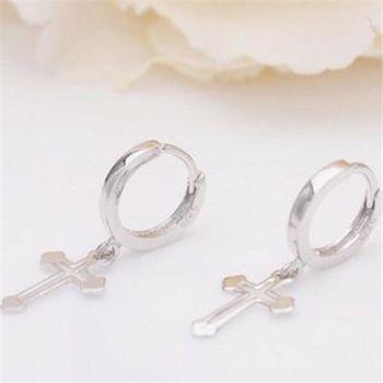 【米蘭精品】925純銀耳環耳針式耳飾簡約十字架圓環