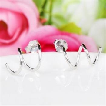 【米蘭精品】925純銀耳環耳針式耳飾簡約螺旋形