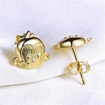 【米蘭精品】925純銀耳環耳針式耳飾可愛猴子