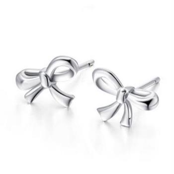 【米蘭精品】925純銀耳環耳針式耳飾百搭甜美蝴蝶結