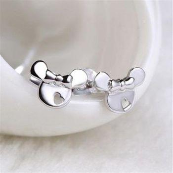 【米蘭精品】925純銀耳環耳針式耳飾可愛米妮