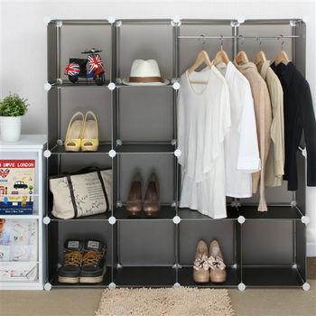 日本MAKINOU 透彩百變創意10+1加大版組合櫃-附掛衣架