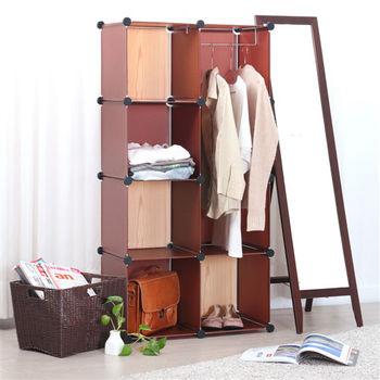 日本MAKINOU 巧克力原木創意5+1組合櫃-附掛衣架