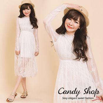 Candy小舖 氣質蕾絲立領摟空長袖洋裝-白色