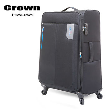 【crownhouse】簡約時尚 24吋耐磨抗壓商務旅行箱(藍黑)