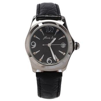 JL 爵儷星光水鑽刻度腕錶(黑色)