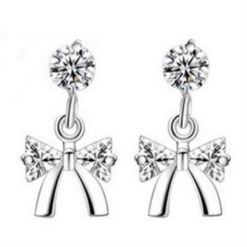 【米蘭精品】925純銀耳環耳針式鑲鑽耳飾韓版可愛蝴蝶結